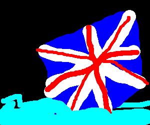 The United Kingdom falls into a sea.
