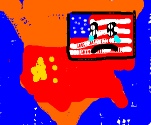 Map Of America With China Flag US Flag Is Sad Drawing By - China map in us flag