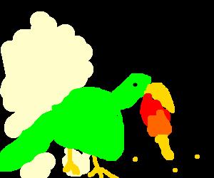 A green bird grows a dragon body part