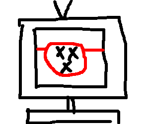 Television with 3 X inside red circle with line