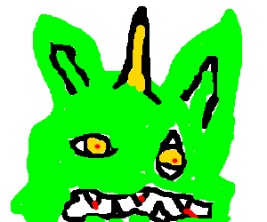 Green monster whose left eye is vertical