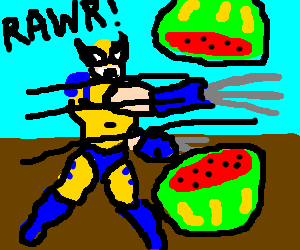 Wolverine attempts to slice watermelon
