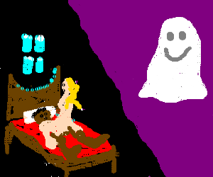 Ghost watches interracial sex