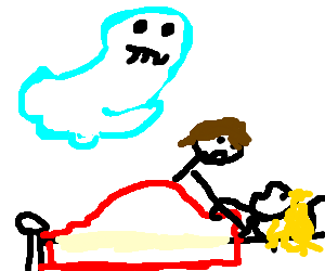 Ghost watching man and woman sleeping together