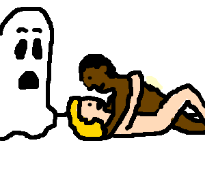 Black man penetrates woman while ghost watches