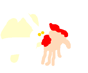 Bunny eating a hand.
