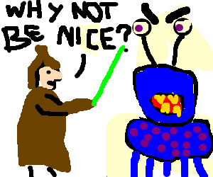 Jedi tries to persuade alien to not be evil