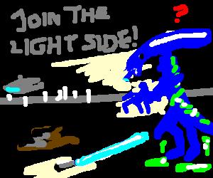 Obi wan tries to convert a blue alien to good