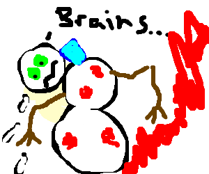 zombie snowman wearing ice pack  has contusions