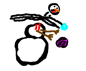 Zombie snowman is beheaded by an icecube