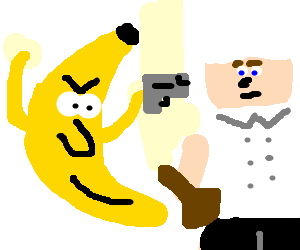 Angry banana takes on guitarist chef