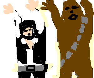 Han Solo and Chewy waving their hands in the air
