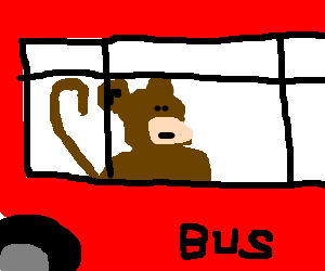 creepy monkey riding the bus