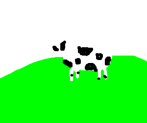 lonely cow in middle of field
