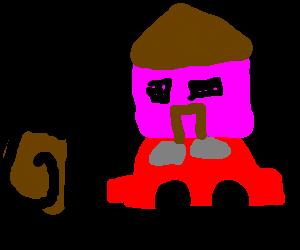 snailman with a car as a house