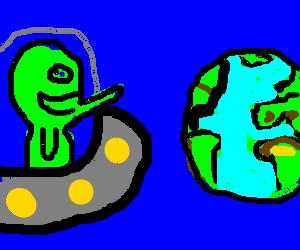 demon-alien smiles at Earth