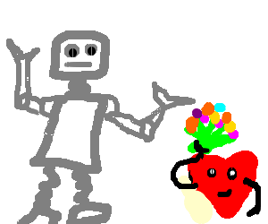 Robot with a heart holding bouquet of flowers