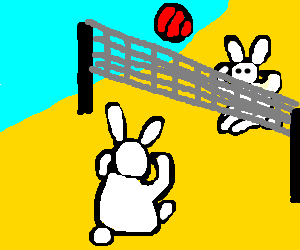 Telekinetic bunnies play beach volleyball