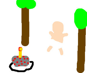 Baby's first birthday cake in an outdoor hammock