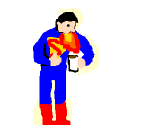 superman barfing fire into his morning coffee