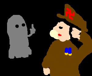Grey ghost flips of saluting Asian NAZI