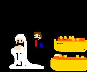 church wedding with hotdogs
