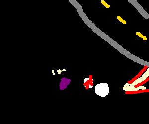 Purple man drags road kill panda off road