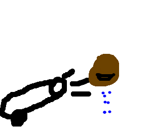 A brown blob spits blue dots while being lanched