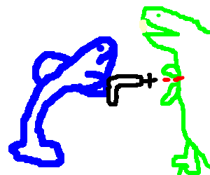 Dolphin fighting a T-rex with lasers