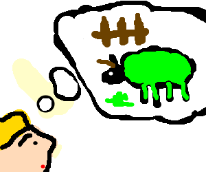 Small boy dreams of green sheep as he ponders