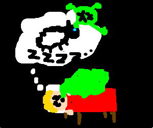 Blond man spits green slime in his sleep