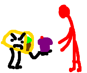 Angry taco gives purple cupcake to red man