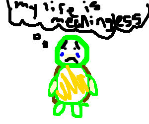 Sad turtle thinks he is obsolete