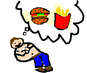 Fat guy dreams about fast food