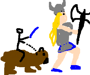 Bear rider follows busty ax maiden to valhalla
