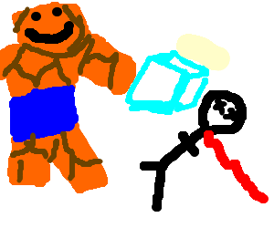 Rock man kills stickman with an ice cube.