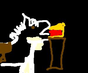 white pony enjoys a slice of cherry pie