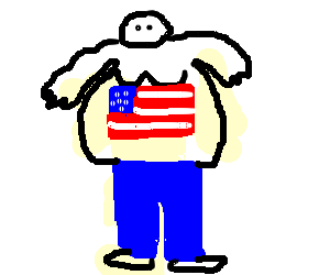 Fat man in pants with flag on chest.