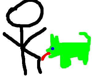 Green Dog Licking Kneecaps