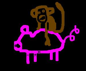 A monkey riding a pig