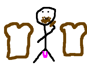 man eating turd in between two pieces of bread