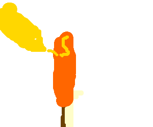 squirting mustard on a corn dog