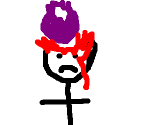 top of guy's head explodes cuz of purple blob
