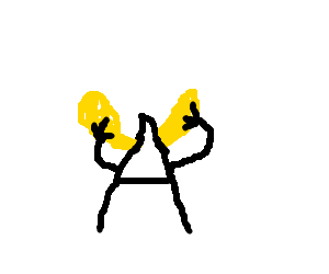 the letter A putting its hands on its yellow ear