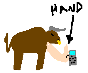 A bull with a mutated arm pushes a numberpad