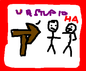 An arrow saying the left person is racist/stupid