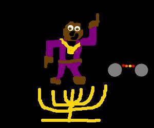 Beatboxers dance on a menorah