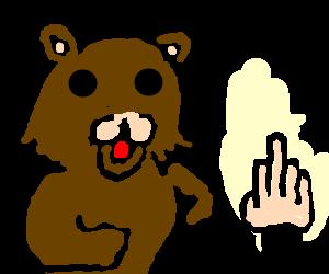 Pedo bear getting flipped off