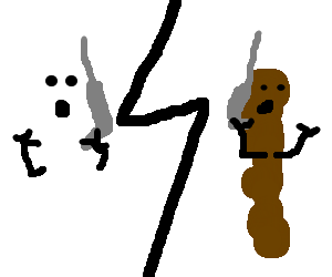 Ghost and poop chatting on the phone