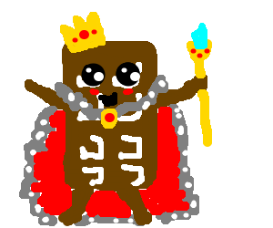 Anthropomorphic chocolate bar who's also a king.